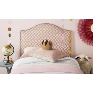 Safavieh Connie Peach Pink/ White Camelback Upholstered Headboard - Silver Nailhead (Twin)