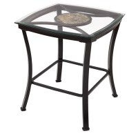 Adeco Glass and Black Metal End Table - Overstock ...