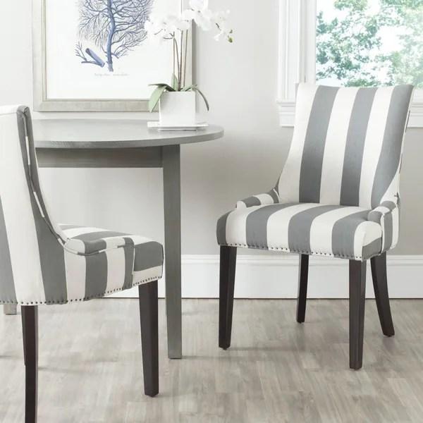 safavieh dining chairs cheap bean bag walmart shop en vogue lester grey/ bone stripe (set of 2) - on sale free ...