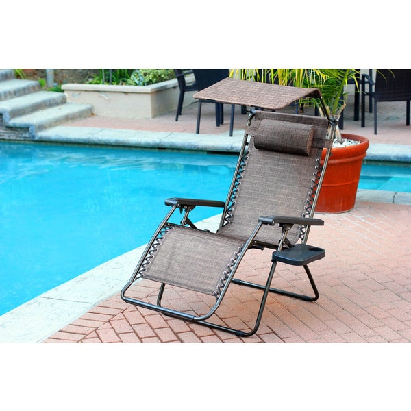 xl zero gravity chair with canopy and footrest tell city chairs mahogany 27 shop oversized brown sunshade drink tray
