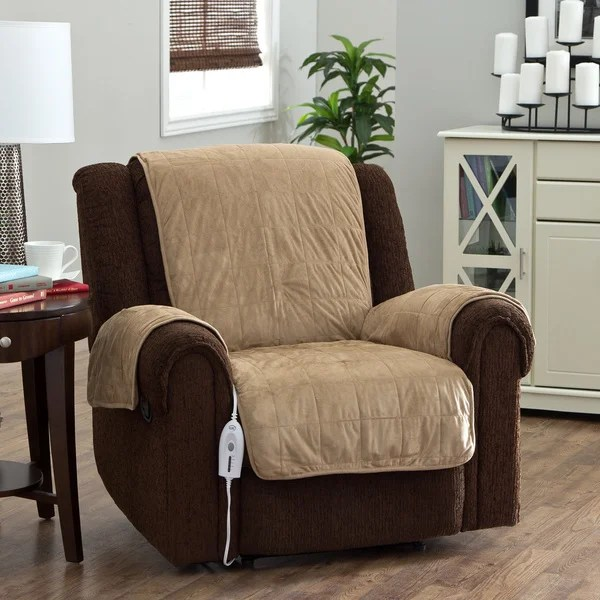 heated chair cover for recliner ciao baby high shop serta warming protector on sale free shipping