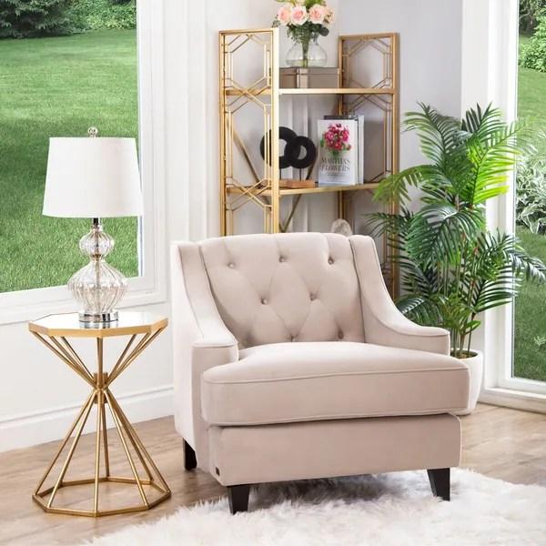 velvet tufted chair patio parts shop abbyson claridge taupe armchair free shipping