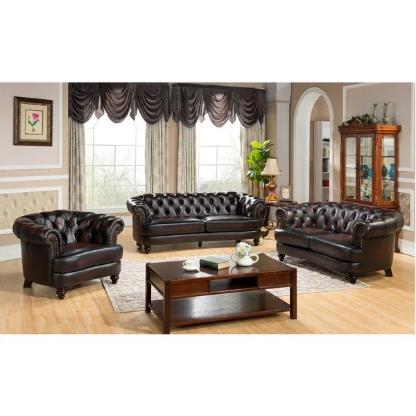 tufted brown leather sofa 2 seater and chair set shop moore chesterfield top grain loveseat