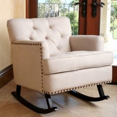 Abbyson Living Thatcher Fabric Rocking Chair In Beige Mity Lite Cart Shop Clara Linen Nailhead Trim Rocker On Sale Free Shipping Today Overstock Com 9557843