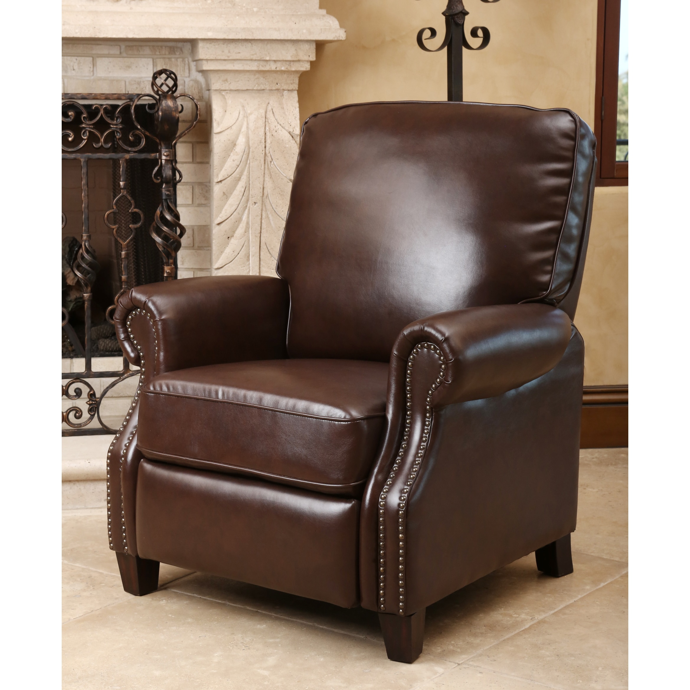 abbyson living rocking chair walmart lift chairs carla brown bonded leather push back