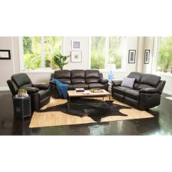Fairfax 3 Piece Top Grain Leather Reclining Living Room Set Drapes And Curtains Shop Abbyson Westwood On
