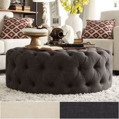 Grey Linen Tufted Sofa Reclining Leather Sofas And Loveseats Knightsbridge Round Cocktail Ottoman With Casters ...