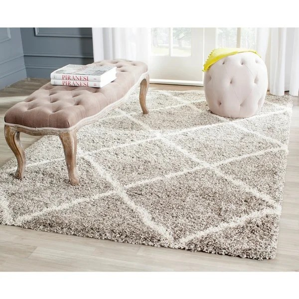 Wayfair Outdoor Teppich Safavieh Hudson Diamond Shag Grey/ Ivory Rug (8' X 10
