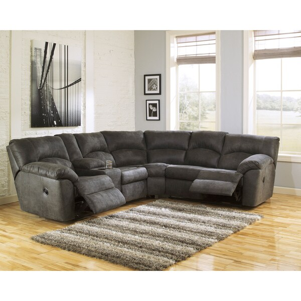 signature design by ashley tambo pewter left and right reclining sectional sofa