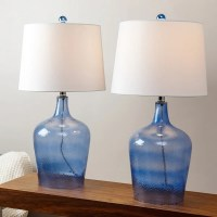 Abbyson Azure Blue Glass Table Lamp (Set of 2) - Free ...