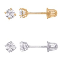 Shop 14k Solid Gold Round 3mm Superbright Screw-Back Cubic ...