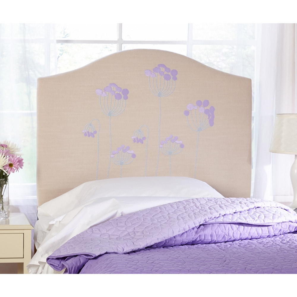 Simple Living Embroidered Floral Upholstered Twin Headboard