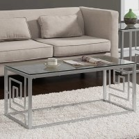 Greek Key Silver Coffee Table with Glass Top