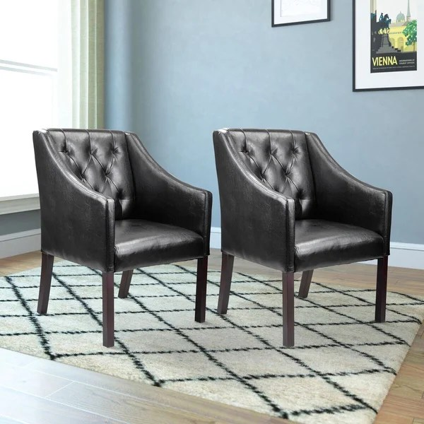Shop CorLiving Bonded Leather Accent Club Chair Set of 2