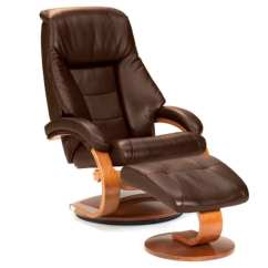 Leather Swivel Recliner Chair And Ottoman Ikea Price Shop Mandel E Espresso Top Grain With Free Shipping Today Overstock Com 9673210