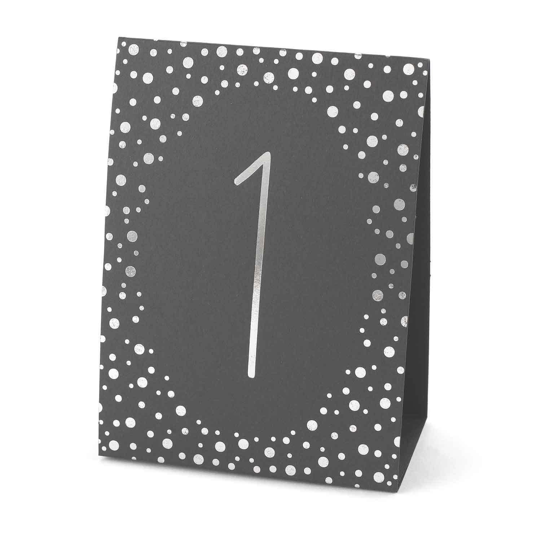 Polka Dot Table Number Tents Silver Foil 1 40 Black