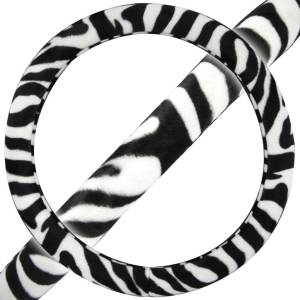 BDK Original Animal Print Zebra Steering Wheel Cover  15-inch Universal Fit /