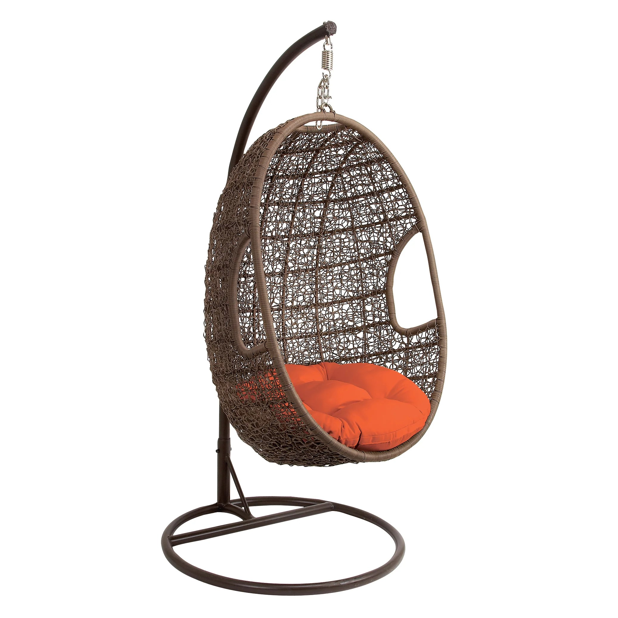 Hanging Egg Pod Chair Brown Metal Rattan Hanging Chair Swing Overstock