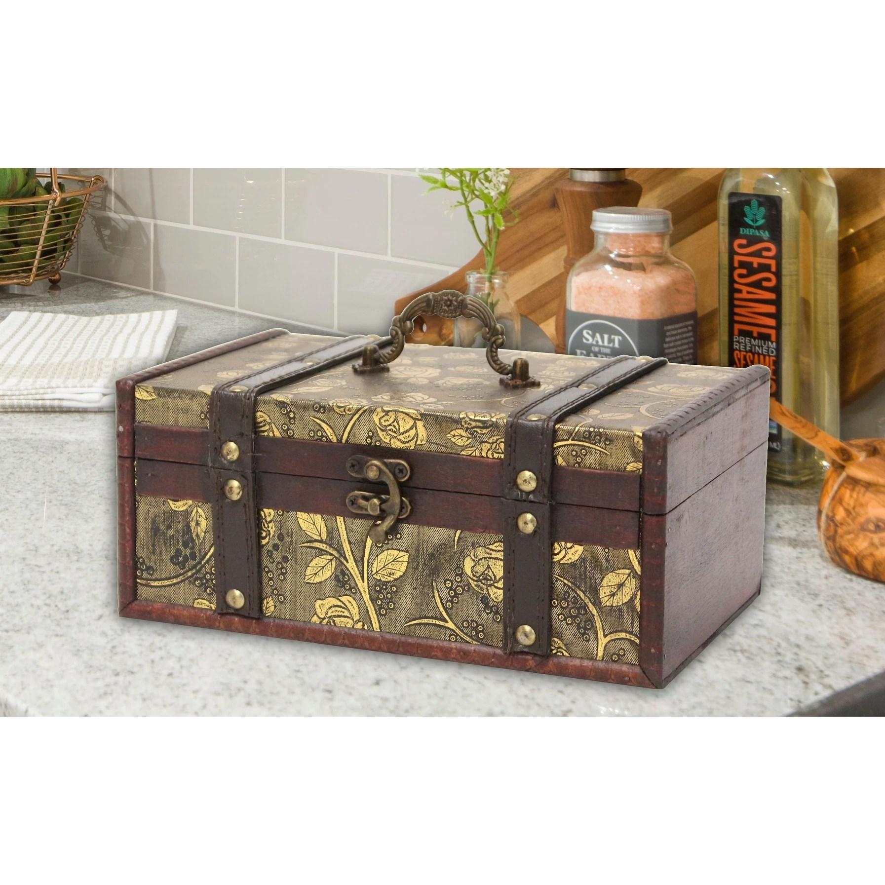 Shop Decorative Leather Treasure Trunk Box Overstock 9721238
