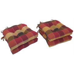 Chair Cushions With Tie Backs Desk Images Shop Essentials Harris Plaid Woven Tieback Pads Set Of 4 Free Shipping Today Overstock Com 9721757