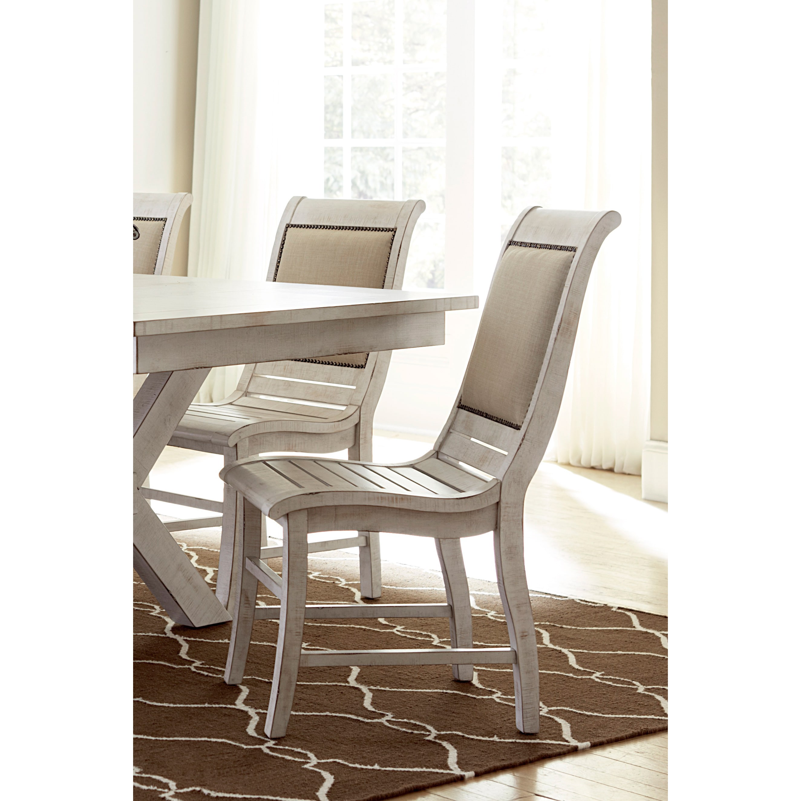 white distressed dining chairs counter height with arms willow set of 2