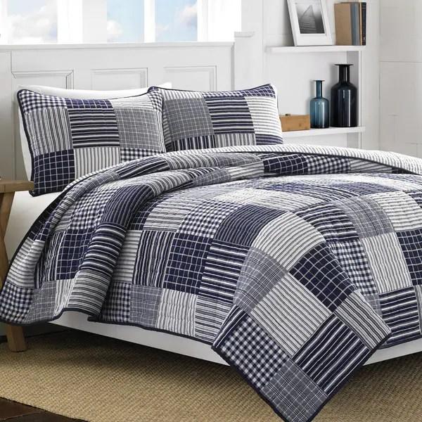 Shop Nautica Key Haven Blue White Cotton 3 Piece Quilt Set
