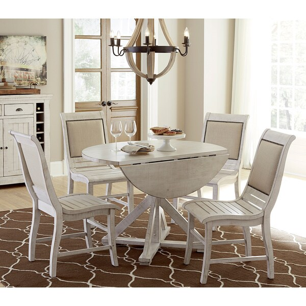 Willow Distressed White Round Dining Table  Free Shipping