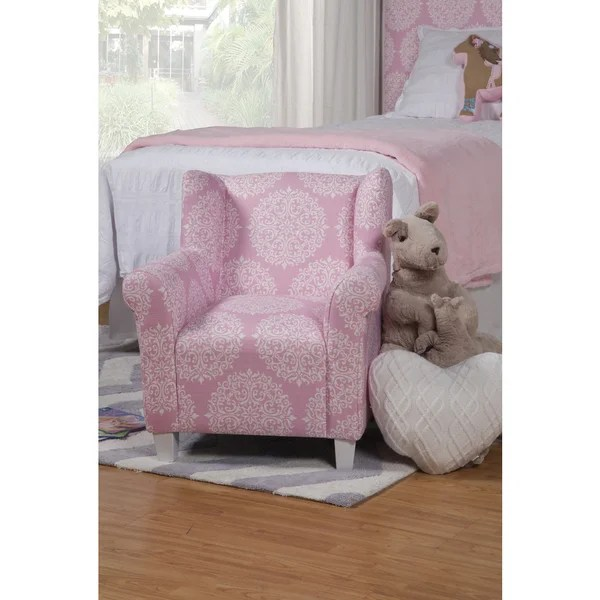 toddler wingback chair teen room chairs shop homepop kids' pink medallion print - free shipping today overstock.com 9728741