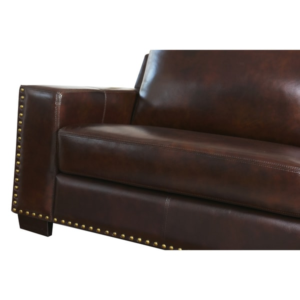 abbyson barrington top grain leather sofa free shipping today