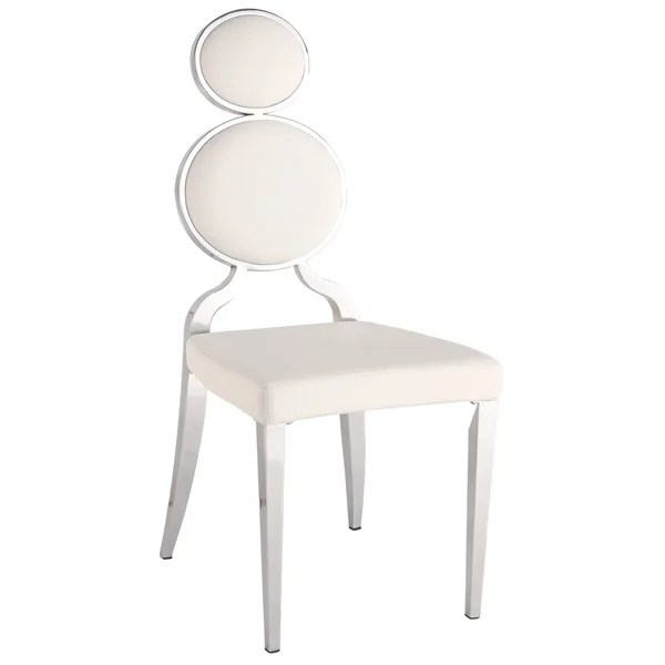 ring back dining chair office jousting shop somette oriana chrome white double set of 2