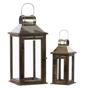 Stained Wood Finish Wood Square Lantern with Chrome Silver Metal Top, Ring Hanger and Glass Windows (Set of 2)