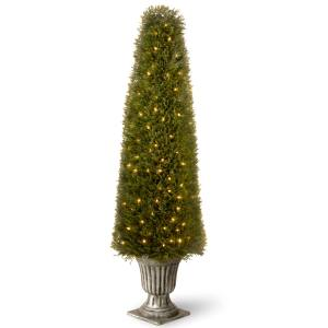 60-inch Upright Juniper in Silver Urn with 200 Clear Lights