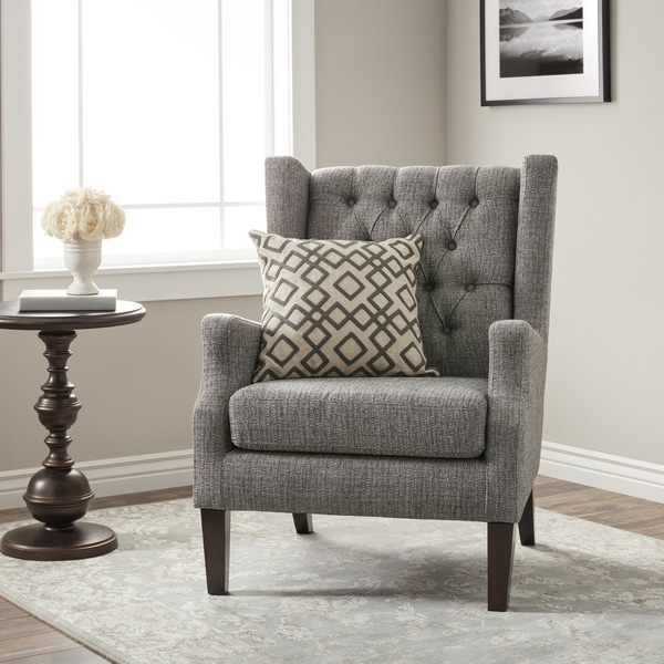 tufted wingback dining chair keter lounge chairs gracewood hollow maxwell grey - free shipping today overstock.com 16930941
