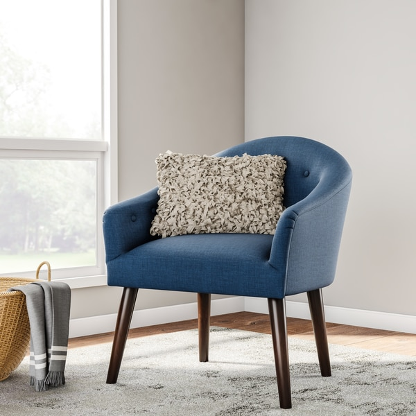 blue accent chairs for living room artwork your shop carson carrington camilla mid century navy chair
