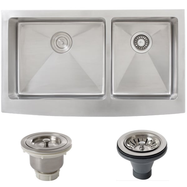 overstock kitchen sinks garbage can storage shop ticor stainless steel undermount 36-inch double bowl ...