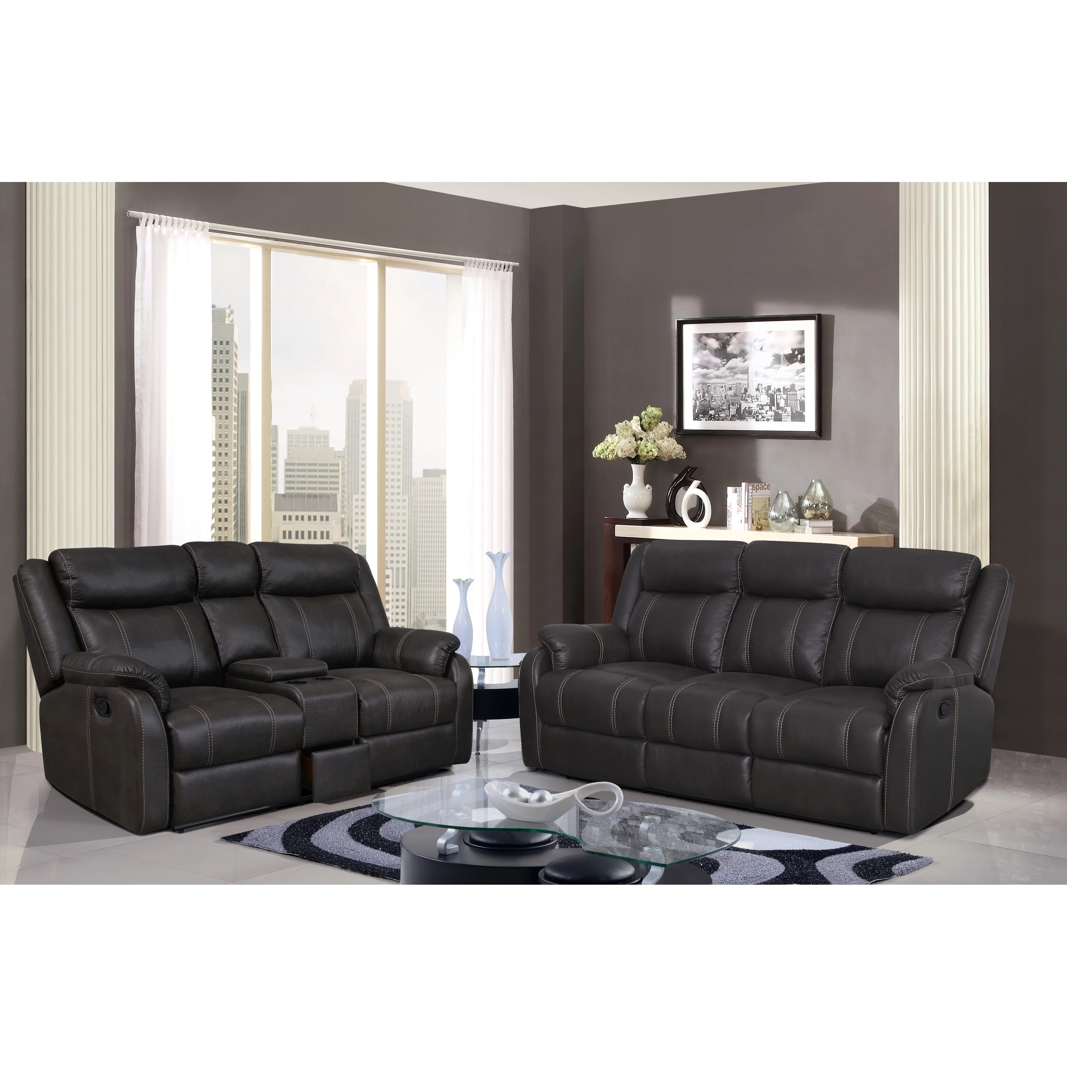 microfiber reclining sofa with drop down table wooden futon bed sydney wyatt and drawer