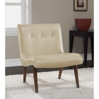 Mid Century Cream Bonded Armless Chair - Free Shipping ...