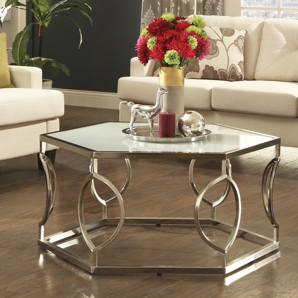best sofa deals canada white slipcovers shop davlin contemporary glam hexagonal metal frosted ...
