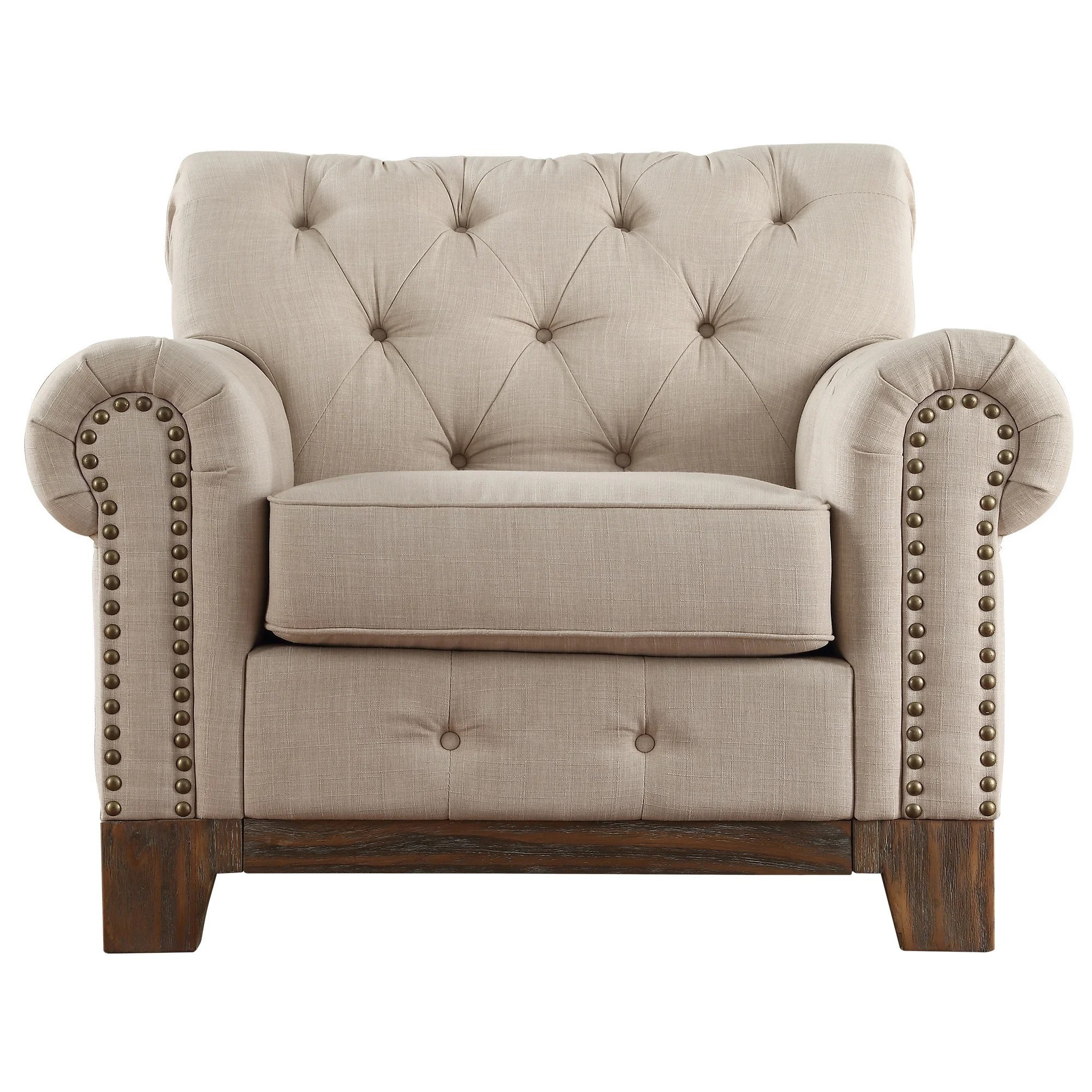 tribecca home knightsbridge beige linen tufted scroll arm chesterfield sofa ikea navy bed greenwich nailhead