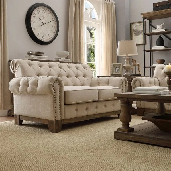 agatha sofa reviews modern online uk signal hills greenwich tufted scroll arm nailhead beige ...
