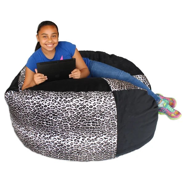 cheetah print bean bag chair wooden childrens captain chairs shop koala foam black shredded free