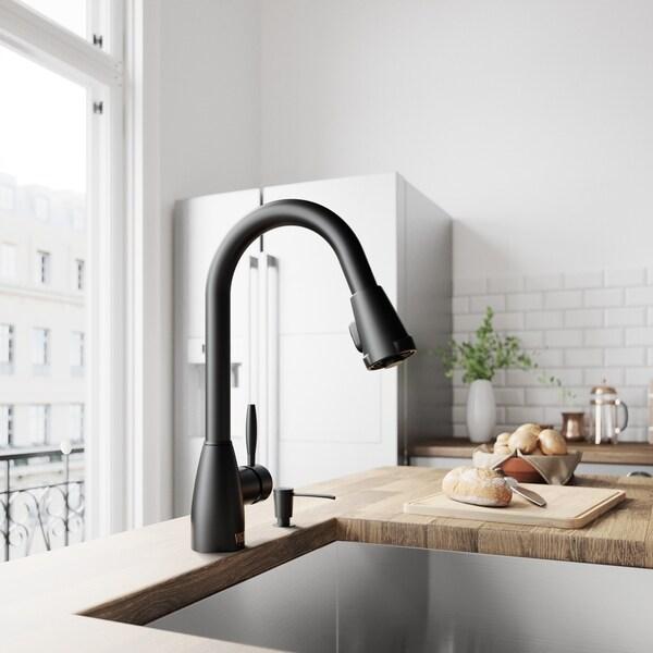 Shop VIGO Graham Matte Black PullDown Kitchen Faucet  On