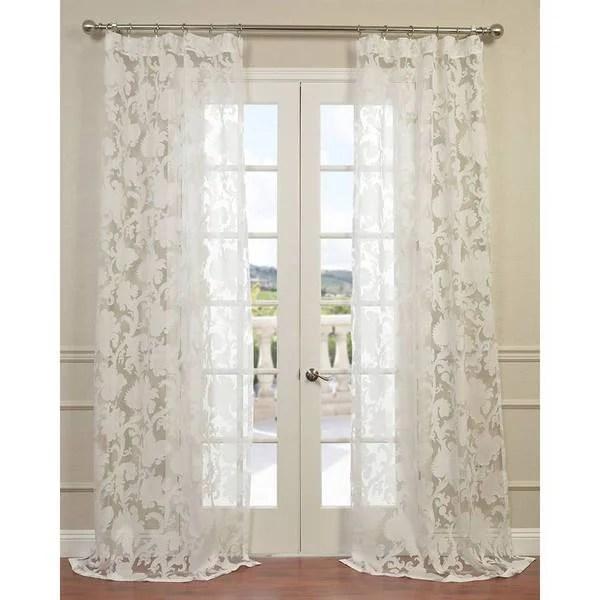 Exclusive Fabrics Venus White Designer Sheer Curtain Panel Free