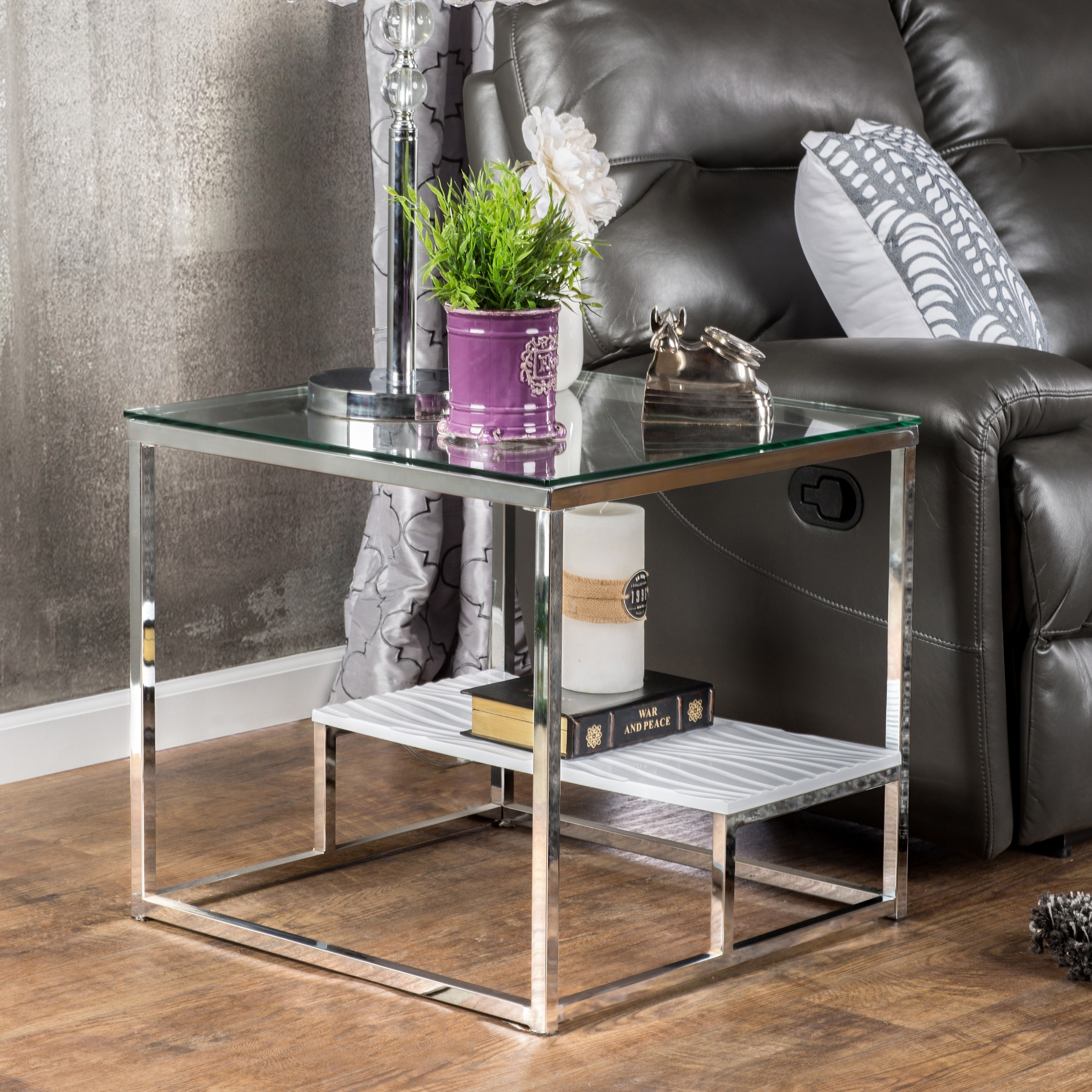 natal chrome and glass sofa table 30 inch deep sectional shop oliver james florence end free