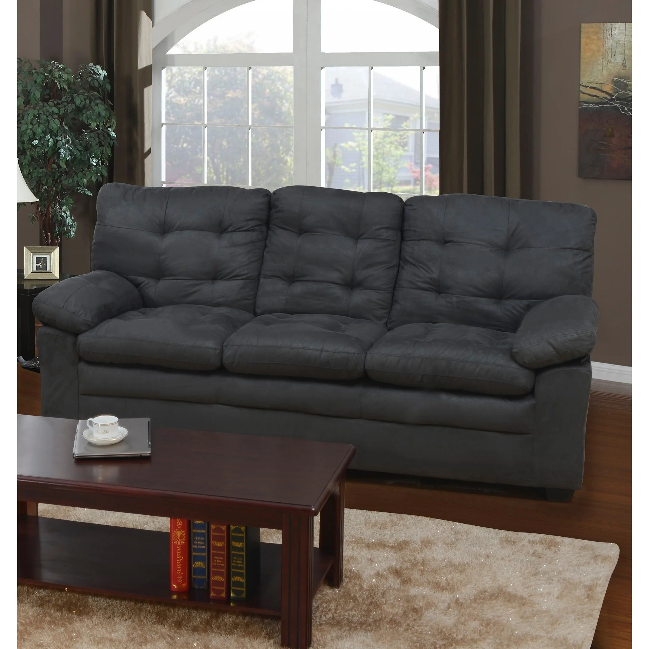 Shop Grey Microfiber Tufted Sofa Free Shipping Today Overstock 9929665