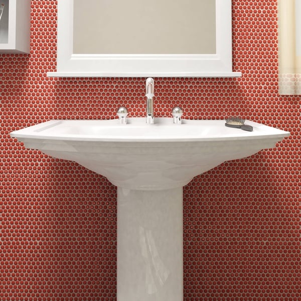Somertile  Inch Asteroid Penny Round Red Porcelain Mosaic Floor And Wall