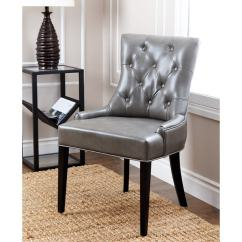 Leather Tufted Dining Chair Child Size Rocking Cushions Shop Abbyson Napa Grey Free Shipping