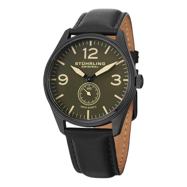 Shop Stuhrling Original Men's Condor Swiss Quartz Military Green Leather Strap Watch - Free Shipping Today - Overstock - 8646478