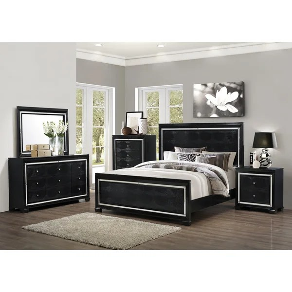 Art Van 6piece Black Crocodile Finish Queen Bedroom Set