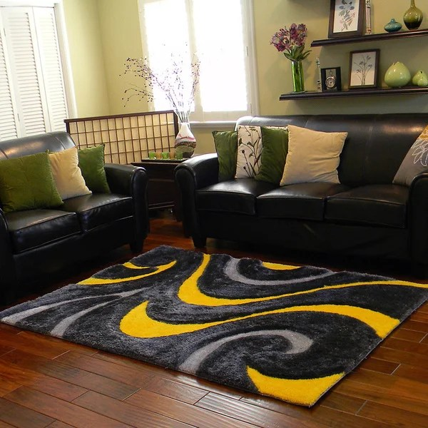 yellow area rug living room home decor ideas for small in india shop donnie ann shaggy abstract wavy swirl 5 x 7